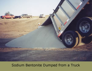 Sodium Bentonite dumped from a truck